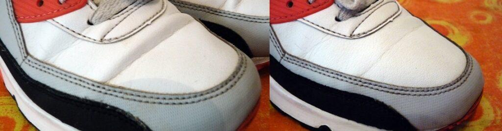 Knitterfalte Sneaker vorher nachher